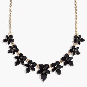 NWT JCREW GEMSTONE PETAL NECKLACE BLACK AND GOLD